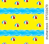 summer seamless pattern with ... | Shutterstock . vector #597232670