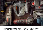 electric hand tools ... | Shutterstock . vector #597239294