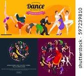 dancing people  dancer bachata  ... | Shutterstock . vector #597239810