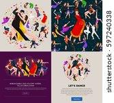 dancing people  dancer bachata  ... | Shutterstock . vector #597240338