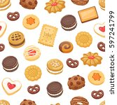 different cookie cake isolated... | Shutterstock .eps vector #597241799
