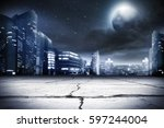 background of city street and... | Shutterstock . vector #597244004
