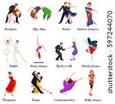 dancing people  dancer bachata  ... | Shutterstock . vector #597244070