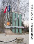 Small photo of Pruszcz Gdanski, POLAND - MARCH 10, 2017: Monumet at 49 military air base in Poland