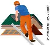 roof construction worker repair ... | Shutterstock .eps vector #597245864