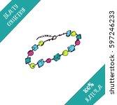 hand drawn set of jewellery... | Shutterstock .eps vector #597246233