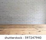 empty top of wooden table over... | Shutterstock . vector #597247940