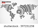 abstract world map of radial... | Shutterstock .eps vector #597251258