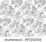 vintage floral seamless pattern ... | Shutterstock .eps vector #597252533