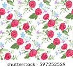 vintage floral seamless pattern ... | Shutterstock .eps vector #597252539