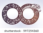 ouroboros devouring its own... | Shutterstock .eps vector #597254360