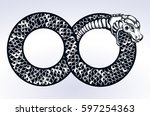 ouroboros devouring its own... | Shutterstock .eps vector #597254363
