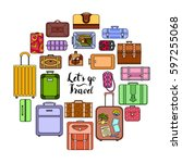 set of colored suitcases in a... | Shutterstock .eps vector #597255068