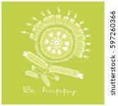 hand painted white flower... | Shutterstock .eps vector #597260366