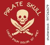 pirate grunge style logo | Shutterstock .eps vector #597262679