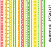 seamless ethnic pattern with... | Shutterstock .eps vector #597263639