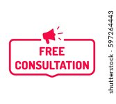 free consultation. badge with... | Shutterstock .eps vector #597264443