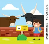 kids looking at wild buffalo... | Shutterstock .eps vector #597267278
