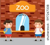 kids buying ticket at zoo | Shutterstock .eps vector #597267338