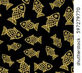 seamless pattern with hand... | Shutterstock .eps vector #597279770