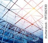 glass office buildings in wide... | Shutterstock . vector #597282530