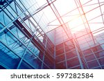 glass office buildings in wide... | Shutterstock . vector #597282584
