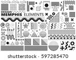 collection of classic memphis... | Shutterstock .eps vector #597285470