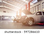 car repair station with soft... | Shutterstock . vector #597286610
