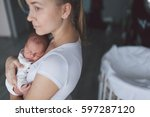 portrait of mother and her... | Shutterstock . vector #597287120