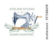 mock up of logo with watercolor ... | Shutterstock . vector #597288698