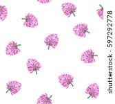 clover flowers. vector seamless ... | Shutterstock .eps vector #597292778