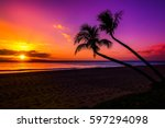 Sunset With Two Palm Trees