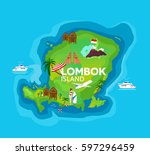 travel map of lombok island at... | Shutterstock .eps vector #597296459