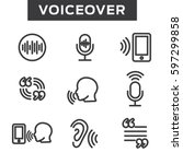 voiceover or voice command icon ...