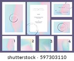 modern minimal colorful wedding ... | Shutterstock .eps vector #597303110