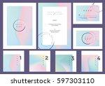 modern minimal colorful wedding ... | Shutterstock .eps vector #597303110