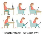 correct and incorrect... | Shutterstock .eps vector #597305594