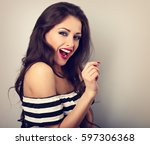 pretty joying successful makeup ... | Shutterstock . vector #597306368