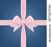 card with pink gift bow and... | Shutterstock .eps vector #597307934