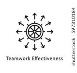 teamwork vector line icon  | Shutterstock .eps vector #597310184