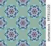 seamless color floral mandala... | Shutterstock .eps vector #597311120