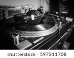 hip hop dj place.pro turntables ... | Shutterstock . vector #597311708
