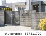 japanese housing entrance... | Shutterstock . vector #597311720