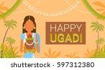happy ugadi and gudi padwa... | Shutterstock .eps vector #597312380