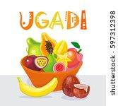 happy ugadi and gudi padwa... | Shutterstock .eps vector #597312398