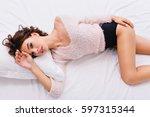 good morning of attractive... | Shutterstock . vector #597315344