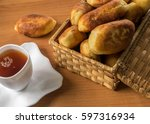 traditional homemade baked... | Shutterstock . vector #597316934