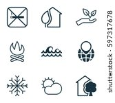 set of 9 eco icons. includes... | Shutterstock .eps vector #597317678