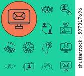 set of 12 business management... | Shutterstock .eps vector #597317696