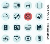 set of 16 computer hardware... | Shutterstock .eps vector #597321428